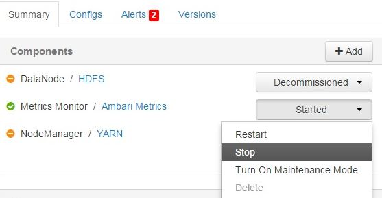 ambari metrics stop